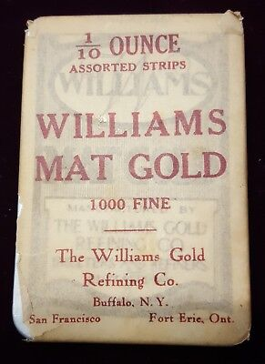 Williams Mat Gold 1/10 Ounce Dental Gold Strips In Antique Tin Box Still Sealed!