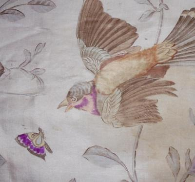 EXQUISITE FRAGMENT 19th CENTURY FRENCH PRINTED SILK, BIRD, BUTTERFLY 7