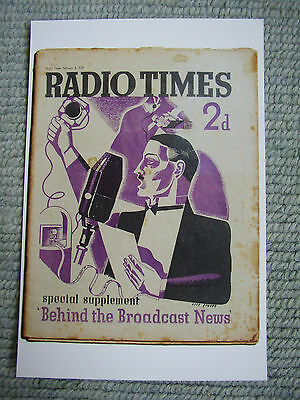 Postcard Vtg Radio Times cover February 1939 Art deco Eric Fraser News reader