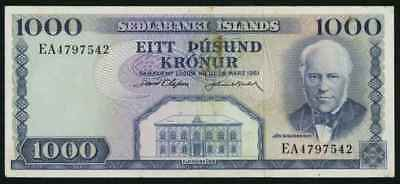 Currency 1961 Central Bank of Iceland One Thousand Kronur Banknote P46a XF+