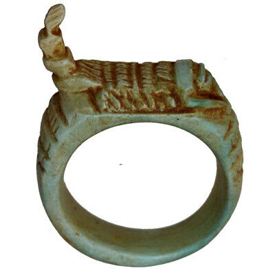 Vintage Massive Egyptian Glazed Ring With Scorpion Ot The Top
