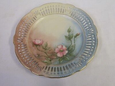 """Vintage Hand Painted Flowers Reticulated Germany Us Zone Plate 7"""""""