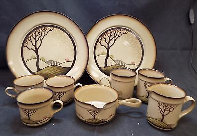 DENBY Handcrafted Fine Stoneware 9 Pieces Savoy Tea/Coffee & Dinner Set - C21