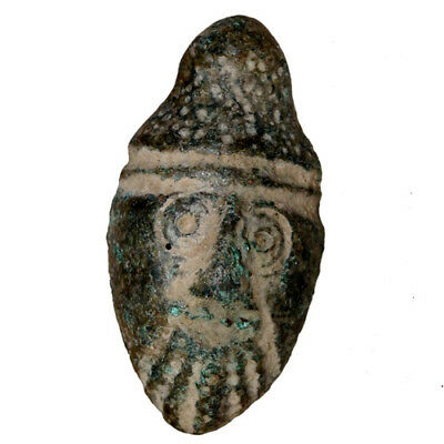 Museum Quality Roman Era Near East Bronze Male Face Pendant Circa 100 Ad