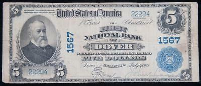 """1902 """"First National Bank of Dover"""" National Banknote FR#599 Item#M3084"""