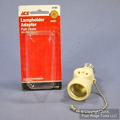 Ace Ivory Lampholder Light Socket Adapter Pull Chain w/ Outlet Receptacle 31185