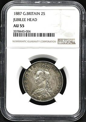 1887 Ngc Au-55 One Florin / Two Shillings Great Britain