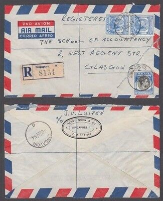 Singapore 1954 Kgvi Registered Airmail Cover To Glasgow (Id:675/d51898)