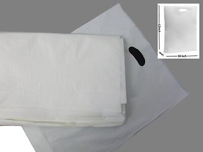 100 - White Patch Handle Plastic Bags / Gift Shop Boutique Carrier Bag