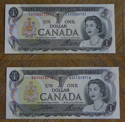 2x 1973 $1 Bank of Canada Notes Gem UNC Replacement