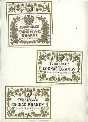 Four Turnball's Geniune Cognac Brandy Bottle Labels Two Different