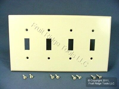 LEVITON WHITE Standard 4-Gang Toggle Light Switch Cover Plastic ...