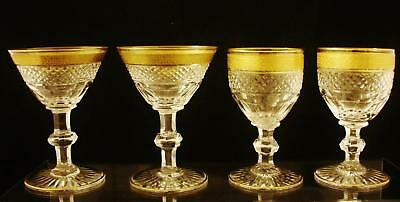 Four St Louis Crystal Stems Trianon Pattern with Banded Gilt Rim