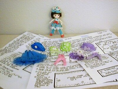 """Dresses/Hats/Tights Pattern 04AT01 For 4"""" Wilde Imagination Amelia Thimble Dolls"""