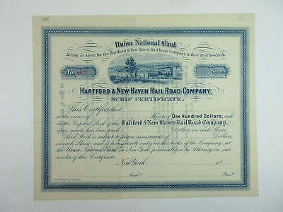 Hartford & New Haven Rail Road Co ca.1880s Unissued Stock Certificate AU+