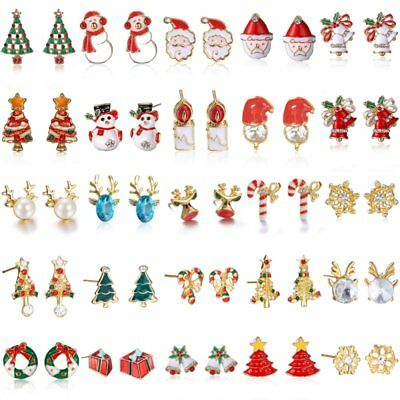 Lovely Christmas Women Jewelry Santa Claus Xmas Tree Earrings Stud Party Gift