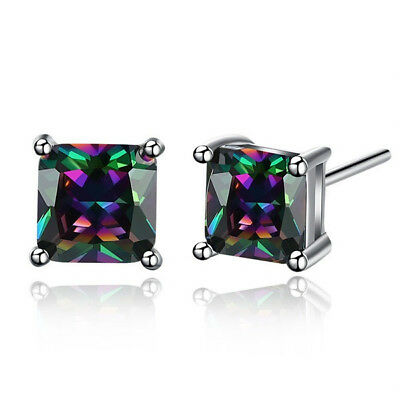 925 Silver Princess Cut Mystic Rainbow Topaz Square Stud Earrings For Women Gift
