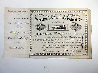 KY. Maysville & Big Sandy Railroad Co., 1891 3 Shrs Cancelled Stock Certificate