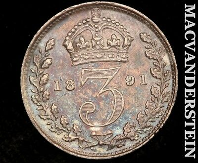 1887 Great Britain Three Pence-Uncirculated!! Color!! #z4402