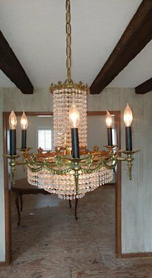"""Beautiful Antique 12 Light 22"""" x 20"""" Tall Brass Chandelier Classic Empire Style"""