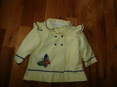 Vintage Baby Jacket Handmade Butterfly Applique Lined Rick Rack Trim