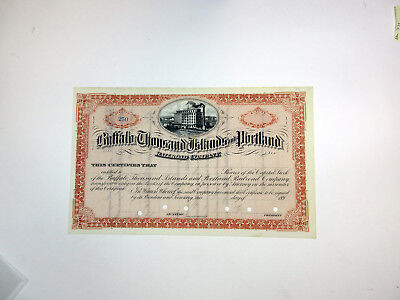Buffalo Thousand Islands & Portland Railroad Co. 1890s Remainder Stock Cert. FBN