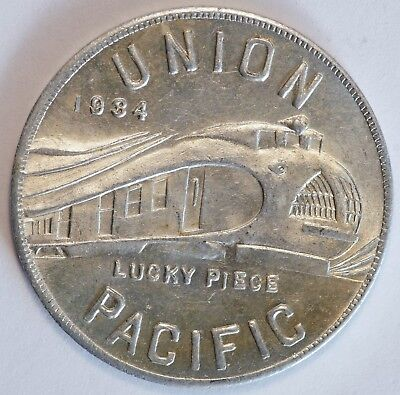 1934 Union Pacific Train Lucky Piece Round Coin Aluminum Co of America Pullman