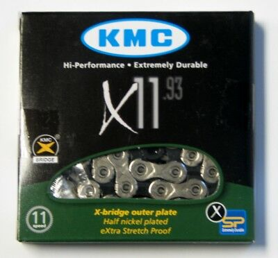 """KMC 11-Speed Racing Bicycle Chain 1/2"""" x 11/128"""" x 116L x 11.93 Nickel Plated!"""