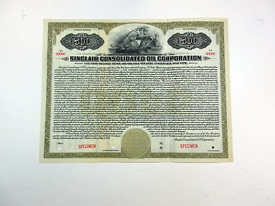 NY. Sinclair Consolidated Oil Corp., 1920 $500 Specimen 7 1/2% Gold Bond XF ABNC