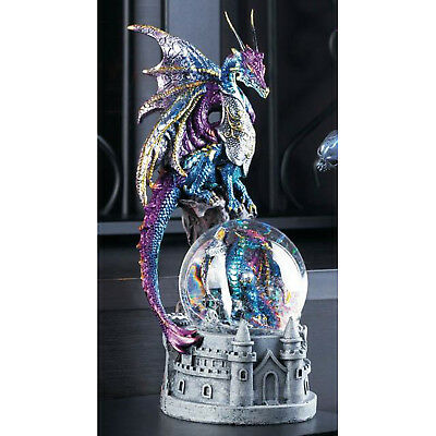 DRAGONS: Dragon and Castle Glittering Snow Globe with Knight Sword Statue NEW