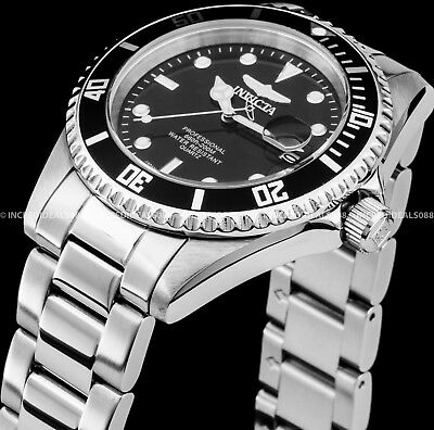Invicta 8932OB Men Pro Diver Quartz Coin Edge Bezel Black Dial Silver 200M Watch
