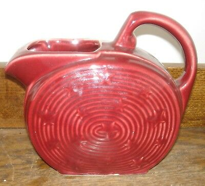 Vintage SHAWNEE Pottery STARS & STRIPES Burgundy Handled Water Pitcher