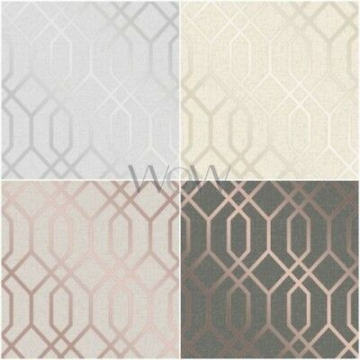 Fine Decor Quartz Trellis Geometric Wallpaper Textured Metallic Glitter Vinyl