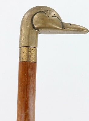 .vintage / Extremely Unusual Brass Ducks Head 4 Pc Dismantlable Walking Stick