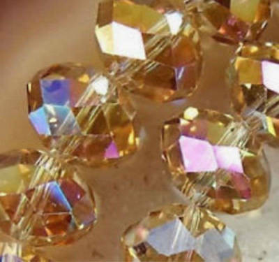 Diy Jewelry Faceted 70pcs 6*8mm Rondelle glass Crystal Beads Gold champagne AB
