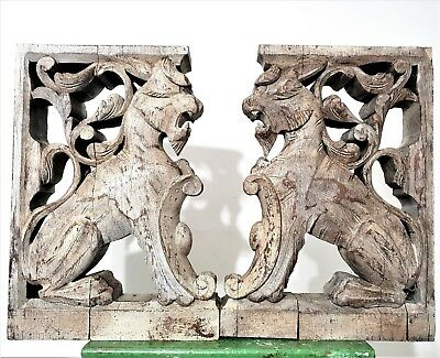 PAIR SHABBY GRIFFIN CORBEL BRACKET Antique french wood architectural carving