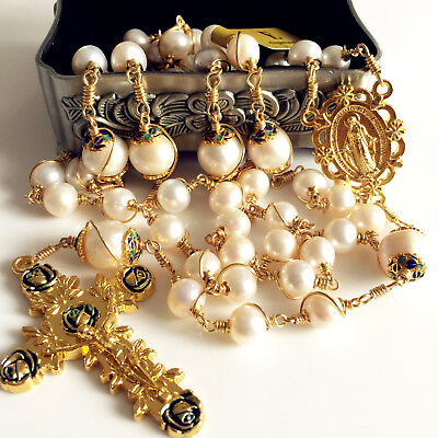 Gold Wire Wrap Bead AAA+ White Real Pearl Catholic Rosary Necklace Cross Box