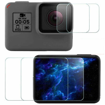 GoPro Hero 5/6 Ultra Clear Tempered Glass Screen and Lens Protector Cap Covers @