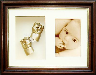 3D Baby Casting Kit cast hand foot feet mahogany effect Gold Paint Unique Gift