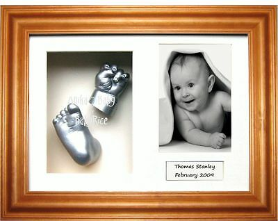 3D Baby Casting Kit Hand Foot Silver Casts Honey Pine Frame New Grandparent Gift