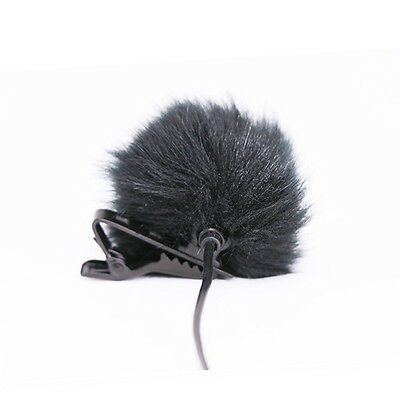 Black Fur Windscreen Windshield Wind Muff for Lapel  Microphone Mic DSUK
