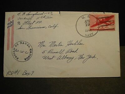 USS ORION AS-18 Naval Cover 1944 Censored WWII Sailor's Mail SAIPAN
