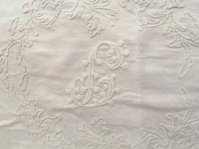 Beautiful Pr Antique Embroidered French Linen Wedding Trousseau Pillow Shams
