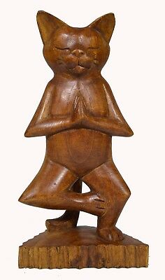 Meditating Yoga Statue Hand Paint Carved Wood Praying Cat Kitten Siamese TREE