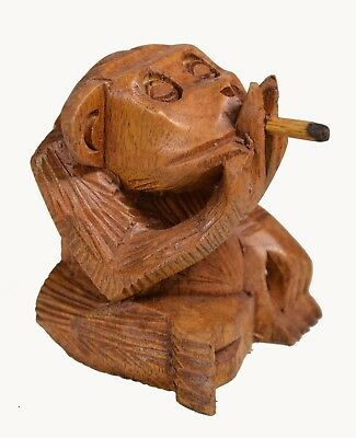 Handmade Wood Finger Monkey Rude Smoking Cigar Pipe Pot Social Jungle Beast Ape