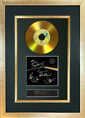 #96 GOLD DISC PINK FLOYD Dark Side of The Moon Signed Autograph Mounted Repro A4