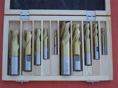 """10Pce 1/4""""-3/4"""" HSS Tin-Coated End Mill & Slot Drills"""