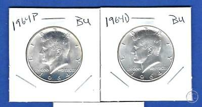 1964 P AND D 90% Silver Kennedy Half Dollars BU Uncirculated-Two Coin Lot
