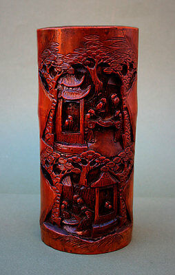 Antique Chinese Carved Bamboo Scholars Brush Pot - French Flea Market Find