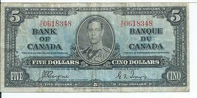 1937 Bank of Canada $5 YC 0618348 Pick 58e Currency Note #348